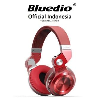 Bluedio T2+ Stereo Bluetooth 4.1 Headset Mic dengan Radio FM -Merah