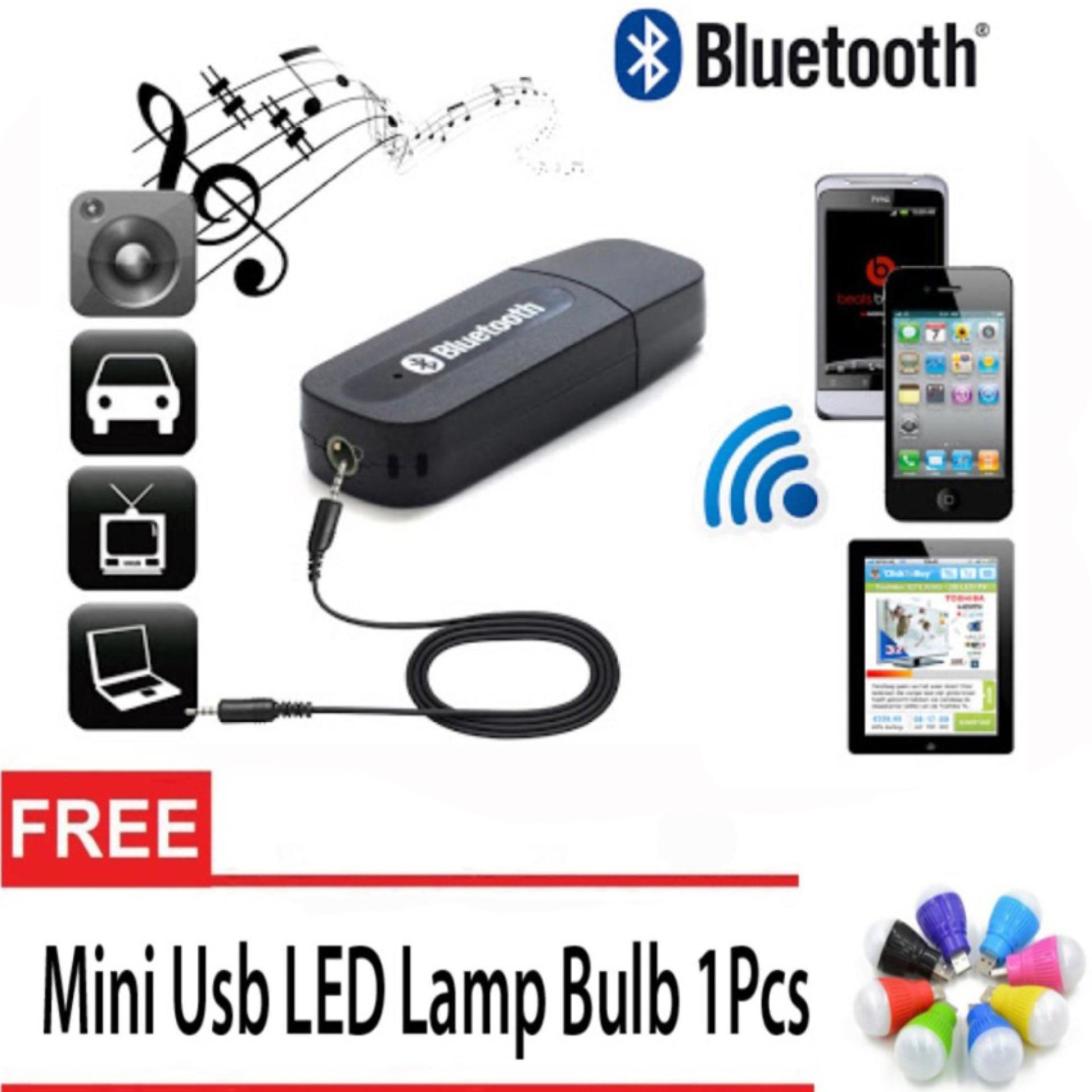 Online Murah Bluetooth Music 35mm Stereo Audio Receiver Adapter Strereo For Speaker Free Mini Usb Led