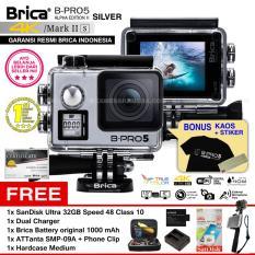 BRICA B-PRO 5 Alpha Edition Mark IIs (AE2s) WIFI 4K SILVER + ATTanta SMP-09A + Phone Clip + Battery Brica 1000mAh + Dual Charger + SanDisk 32GB Class 10 + Hardcase Medium + Kaos Brica + Sticker BPRO5