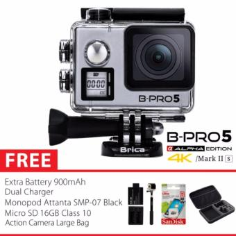 BRICA B-PRO 5 Alpha Edition Version 2S - AE 2S 4K WIFI Action Camera - SILVER Combo Extreme Large