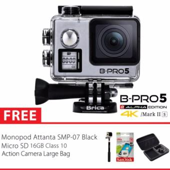 BRICA B-PRO 5 Alpha Edition Version 2S - AE 2S 4K WIFI Action Camera - SILVER + Tongsis + Memory 16GB Class 10 + Tas Large