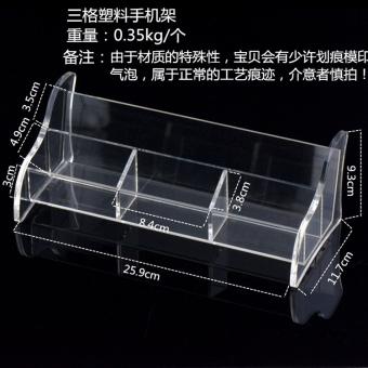 Busana transparan akrilik puing-puing kotak handphone braket handphone kursi