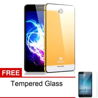 Calandiva Backcase Tempered for Xiaomi Redmi Note 2 / Pro / Prime -Gold + Rounded Tempered Glass