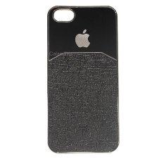 Calandiva Chrome Hardcase Half Metal Half Leather for Iphone 5 / 5s / 5SE ( Hitam