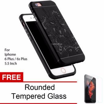 Gambar Calandiva Dragon Shockproof Hybrid Case for Iphone 6 Plus 6s Plus 5.5 Inch Hitam +