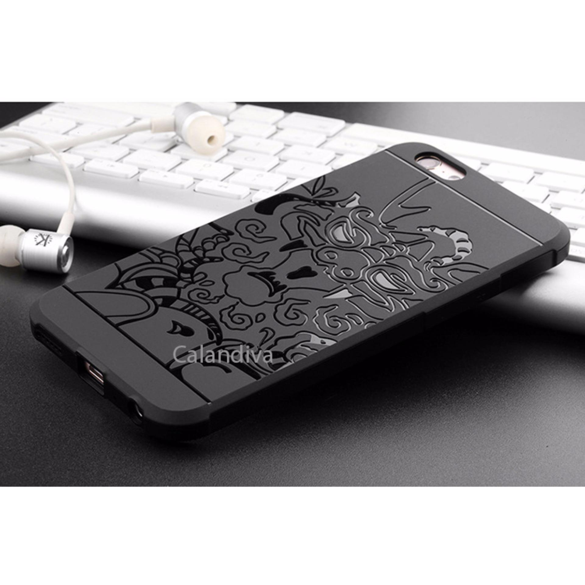 Calandiva Dragon Shockproof Hybrid Case for Oppo A57 - Hitam + Rounded Tempered Glass Oppo A57