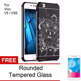 Calandiva Dragon Shockproof Hybrid Case for VIVO V5 / V5s - Hitam + Rounded Tempered Glass