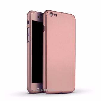 Calandiva Front Back Protection Case 360 Degree With Tempered Glass for Iphone 6 plus / 6s plus - Rose Gold