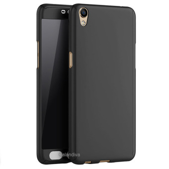 Calandiva Front Back Protection Case 360 Degree With Tempered Glass for Oppo F1 plus / R9 - Hitam