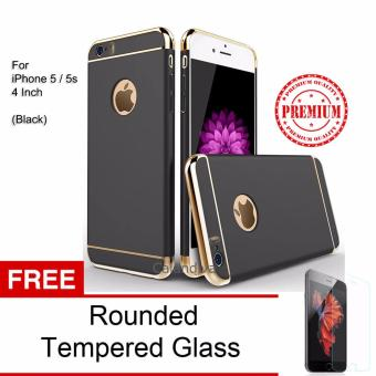 Calandiva Premium Quality Elegance Protection Hardcase for Iphone 5 / 5s / 5 SE - Black + Rounded Tempered Glass