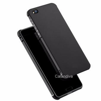 Calandiva Shockproof Hybrid Case for Xiaomi MI 5C - Hitam + Rounded Tempered Glass - 2
