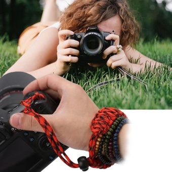 Camera Wrist Strap Hand Grip Outdoor Adjustable Paracord Lanyard Red Black - intl