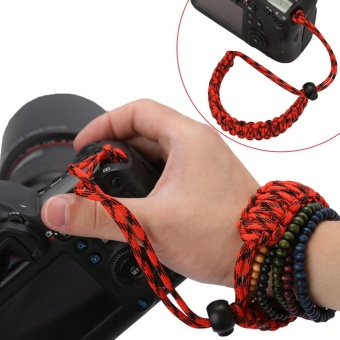 Camera Wrist Strap Hand Grip Outdoor Adjustable Paracord LanyardRed Black - intl