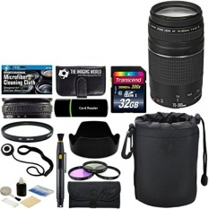 Canon EF 75-300mm f/4-5.6 III Zoom Lens + 32 GB Card + Pouch + Hood + Band + Filters + Massive Bundle - intl