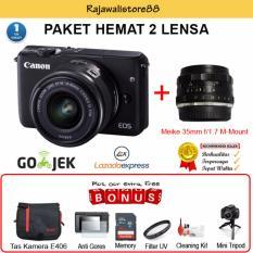 Canon EOS M10 Kit 15-45mm & Meike 35mm F1.7 - Free Aksessories Kamera