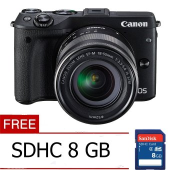 Canon EOS M3 24.2 MP Digital Camera with EF-M 15-45mm F3.5-5.6 IS STM Lens Black Free Memory Card