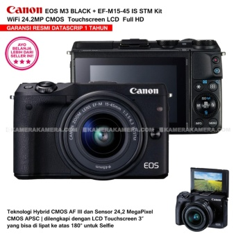 CANON EOS M3 BLACK (EF-M15-45 IS STM) Wifi 18MP CMOS Touchscreen Lcd Full Hd (Resmi Datascrip)