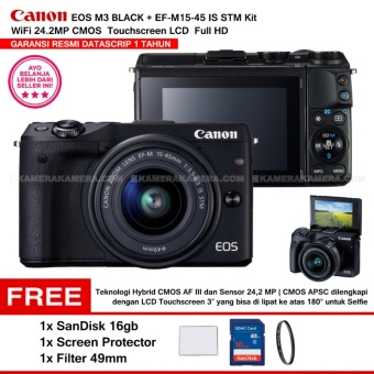 CANON EOS M3 BLACK (EF-M15-45 IS STM) Wifi 18MP CMOS Touchscreen Lcd Full Hd (Resmi Datascrip) + Sandisk 16gb + Screen Protector + Filter 49mm