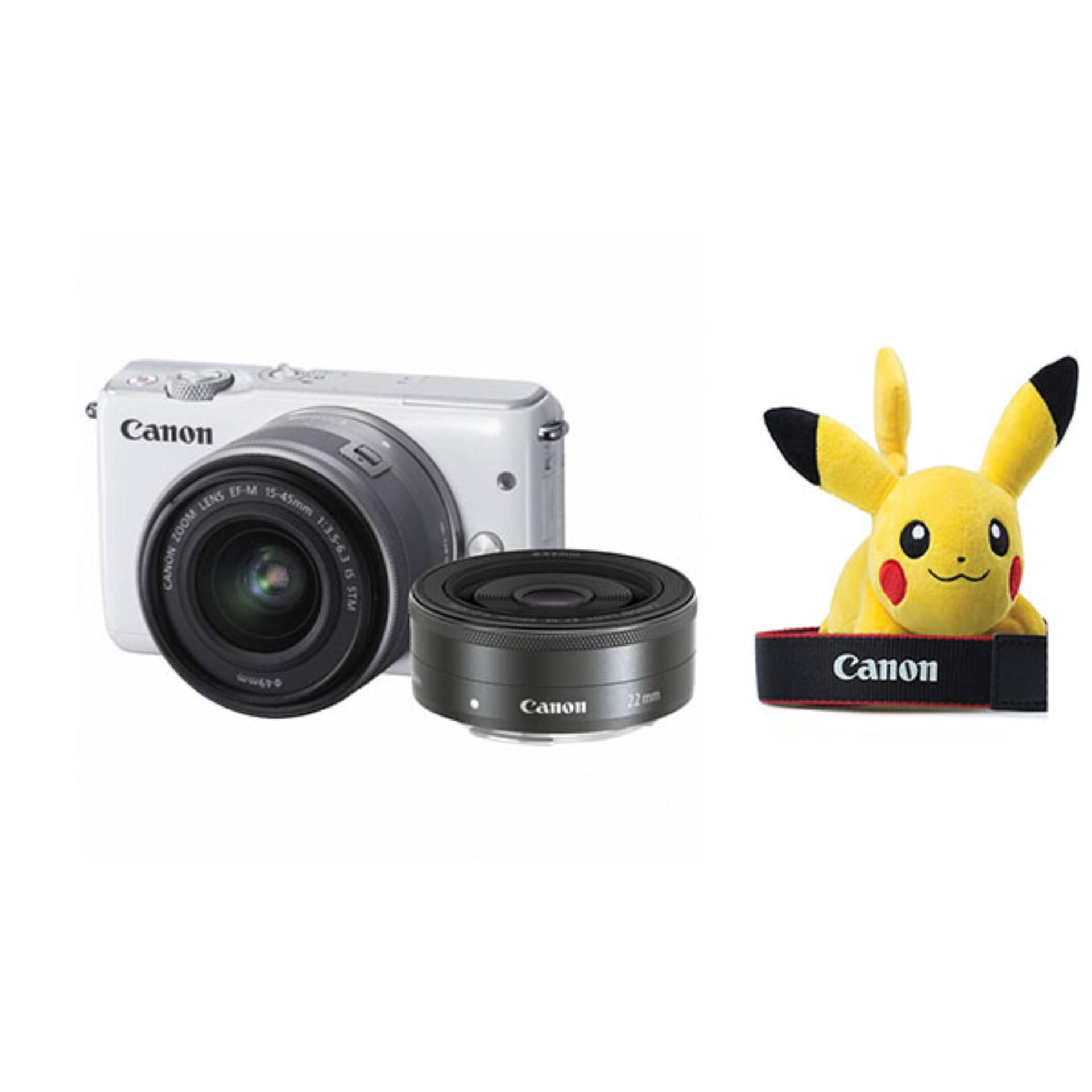 Canon Kamera Mirrorless EOS M10 Kit M15-45mm IS STM + M22mm STM + Free LCD Screen Guard