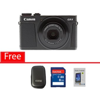 Canon Powershot G9 X - 20.2MP - Hitam Free Memory Card, Screen Guard dan Tas Kamera