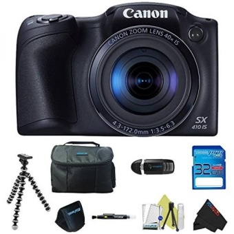 Canon PowerShot SX410 IS (Black) + Pixi-Basic Accessory Bundle - intl