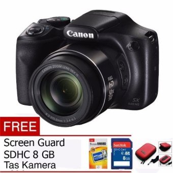 Canon PowerShot SX540 HS Digital Camera - 20 MP - Hiram Free Memory Card, Screen Guard dan Tas Kamera
