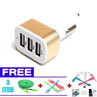 Car Charger 5.1A 3 Port Charger Hp di Mobil + FREE Kipas mini USB + LED Mini USB + Kabel Data Tali Sepatu Micro USB 3 Meter