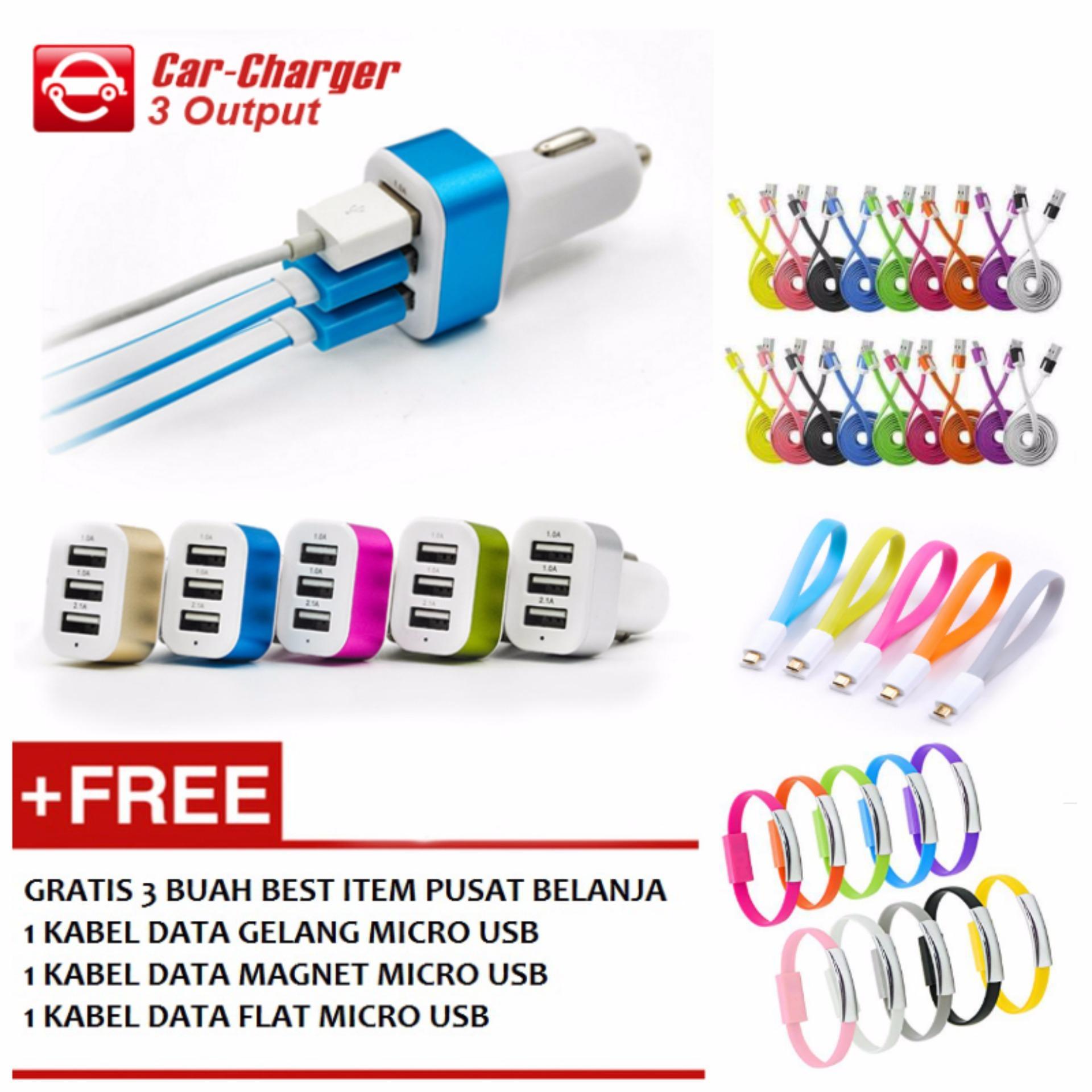 Car Charger 5.1A 3 Port Charger Mobil + Gratis 1 Buah Kabel .