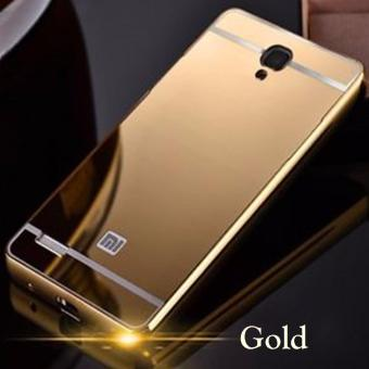 Case Aluminium Bumper with Mirror Back Cover for Xiaomi Redmi Note 3 / Note 3 Pro Gold -