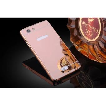 Case Alumunium Bumper With Sleding Mirror Oppo Neo 5 A31 Bumper Oppo A31 Back Case Oppo Neo 5 ( Hardcase Oppo Neo5) - Pink Rose Gold