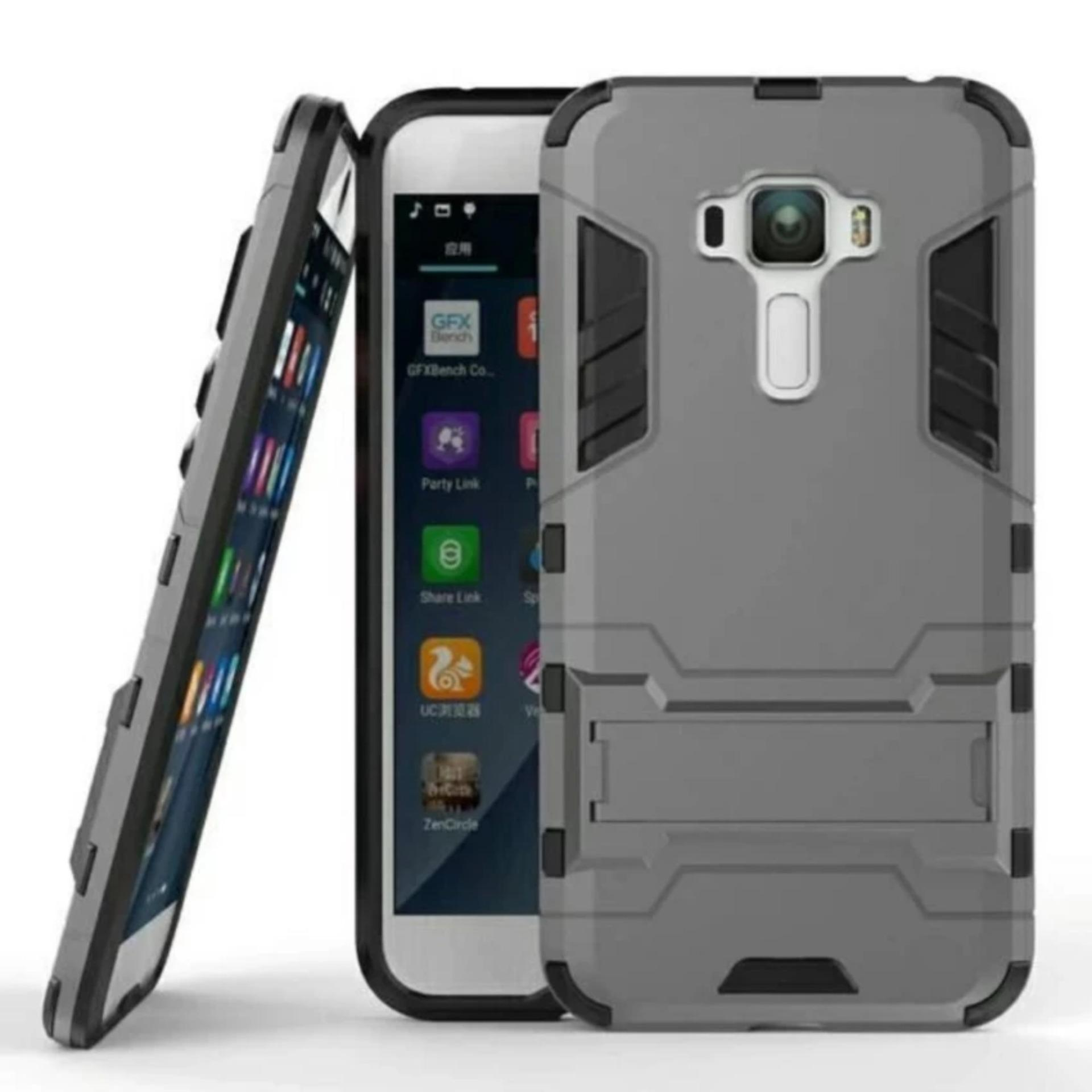 ... Case Armor Shockproof Asus Zenfone 3 ZE552KL Iron Man Kick Stand Series - Abu - Grey ...