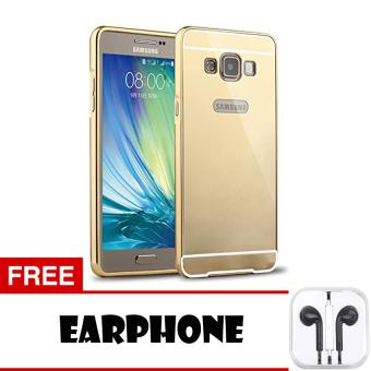 Case Bumper Mirror Case for Samsung Galaxy Mega 5.8 - Gold + Free Earphone