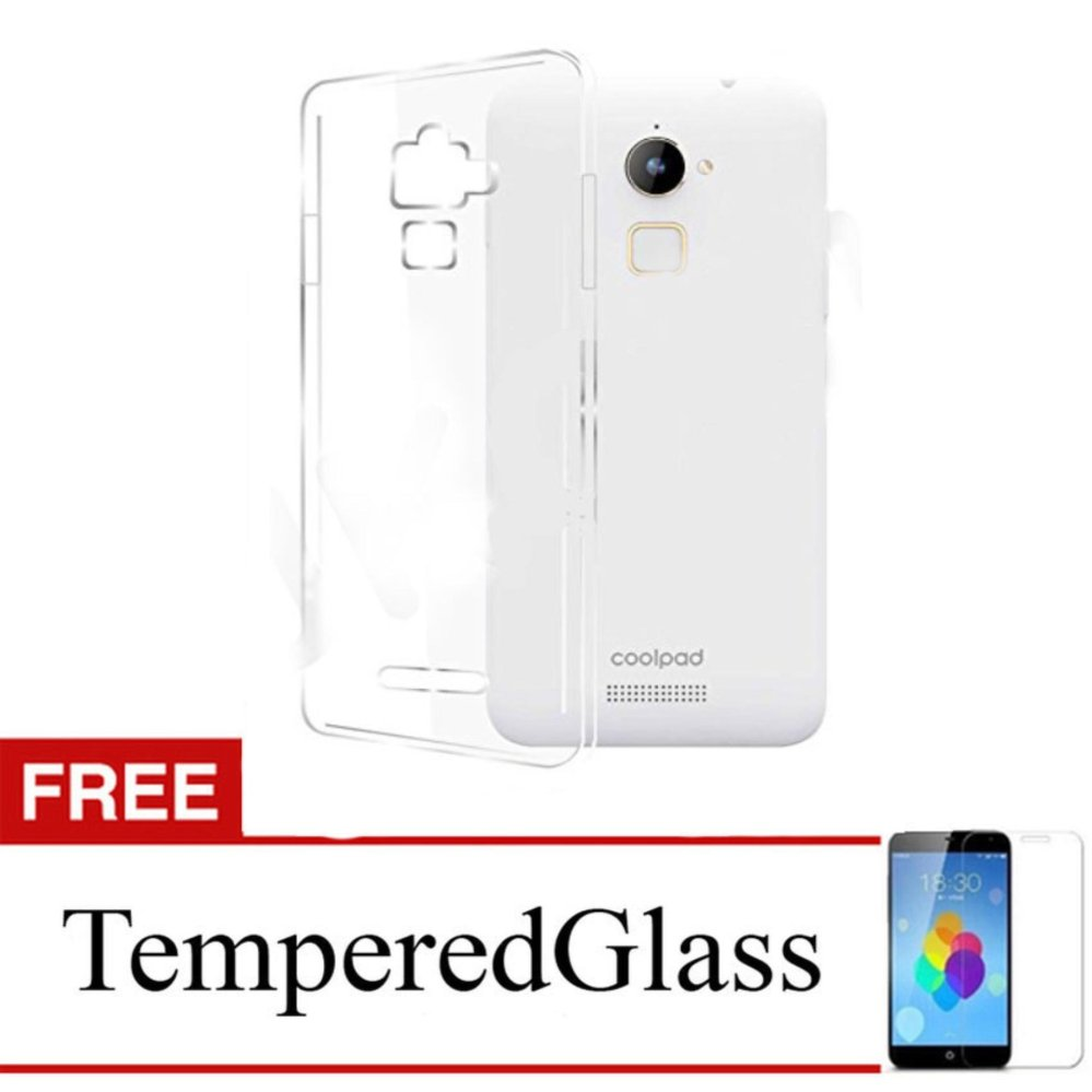 Case for CoolPad Fancy 3 / E503 - Clear + Gratis Tempered Glass - Ultra Thin