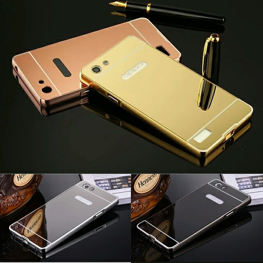 Case For Oppo Neo 7 / A33 Bumper Slide Mirror - Rose Gold + FreeTempered Glass