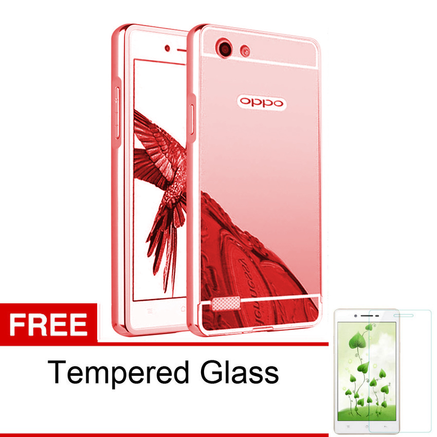 ... Case For Oppo Neo 7 / A33 Bumper Slide Mirror - Rose Gold + FreeTempered Glass ...