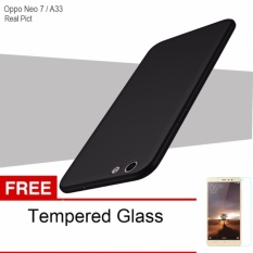 Case For Oppo Neo 7 / A33 UltraSlim Original Shockproof Hybrid Full Cover Series- Hitam Free Tempered Glass
