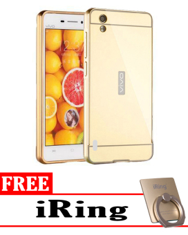 Case for Vivo Y15 Aluminium Bumper With Mirror Backdoor Slide - Gold + Gratis iRing ...