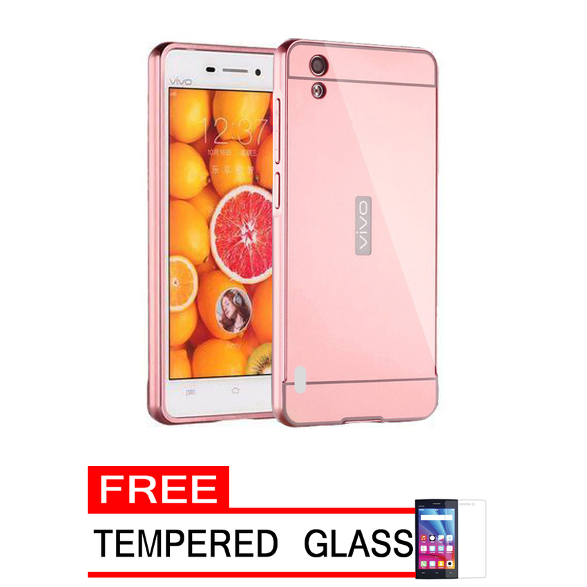 Case For Vivo Y15 Bumper Slide Mirror - Rose Gold + Free Tempered Glass .
