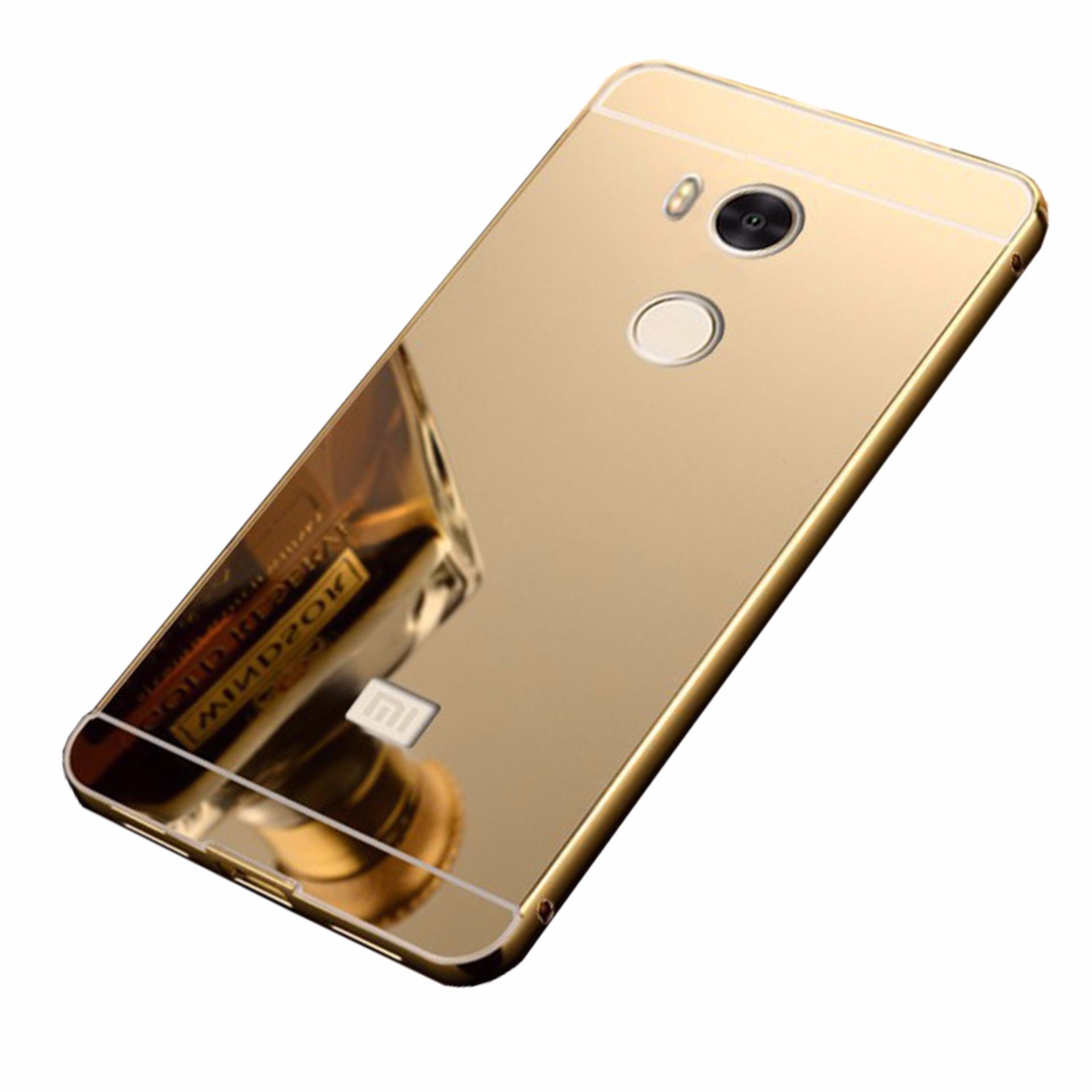 Case Metal for Xiaomi Redmi 4s Aluminium Bumper With MirrorBackdoor Slide - Gold