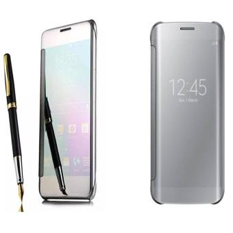 Case Mirror Flifcase Cover S View Transparan Auto Lock SamsungGalaxy S8 Cover S View Transparan Auto Lock Casing Hp- SILVER