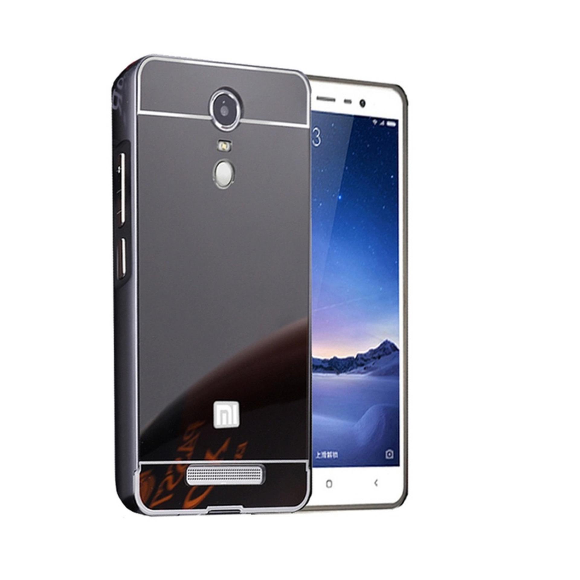 Case Mirror Slide Xiaomi Redmi Note 4 Bumper Mirror Slide Hitam Tempered Glass .