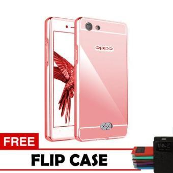 Case Oppo Neo 5 Bumper Mirror Slide - Rose + Free Flipcase