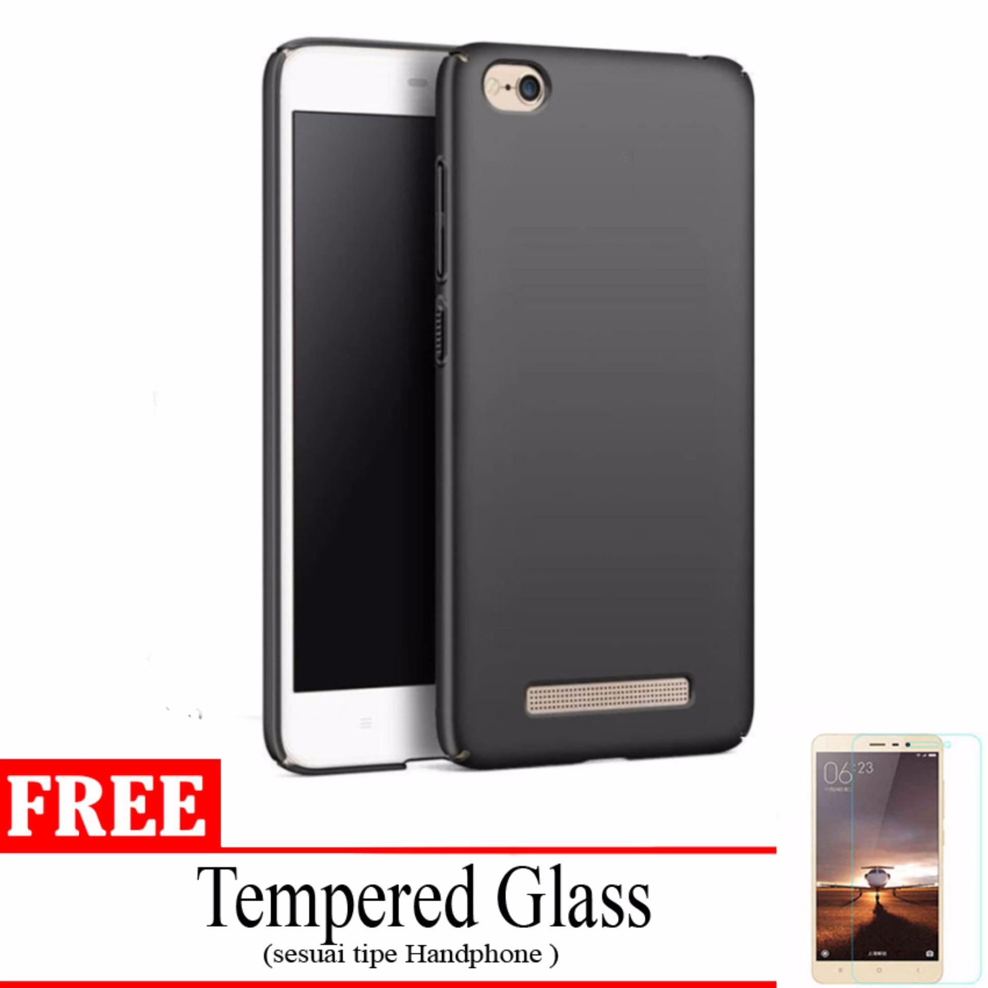 Case Slim Black doff Matte for Xiaomi Redmi 4A Anti minyak + free Tempered Glass