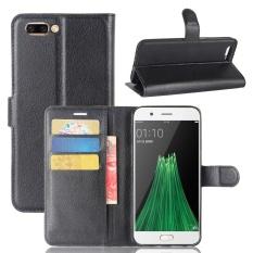 Case untuk OPPO R11 Plus Litchi Grain PU Dompet Kulit Case dengan Slot Kartu dan Flip Stand Function Penutupan Magnetik Cover (Hitam) -Intl