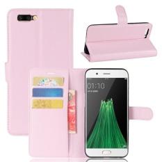 Case untuk OPPO R11 Plus Litchi Grain PU Dompet Kulit Case dengan Slot Kartu dan Flip Stand Function Penutupan Magnetik Cover (Pink) -Intl