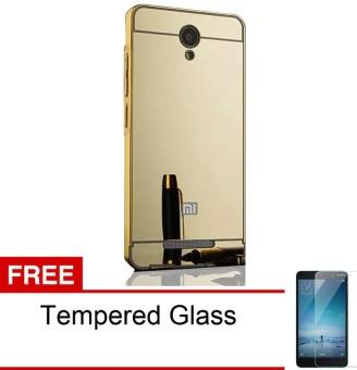 Case Xiaomi Redmi Note 2 Aluminium Bumper Mirror + Tempered Glass-Emas ...