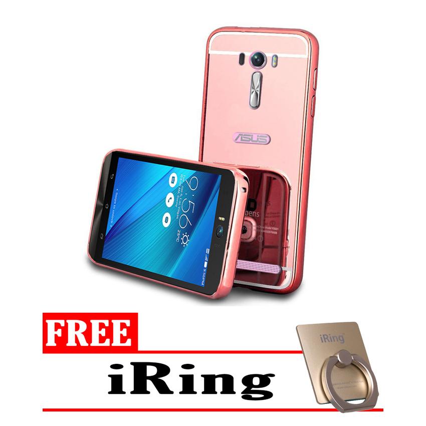 Casing Asus Zenfone 2 Laser 5 Inch Casing Bumper Mirror Rose Gold Free .