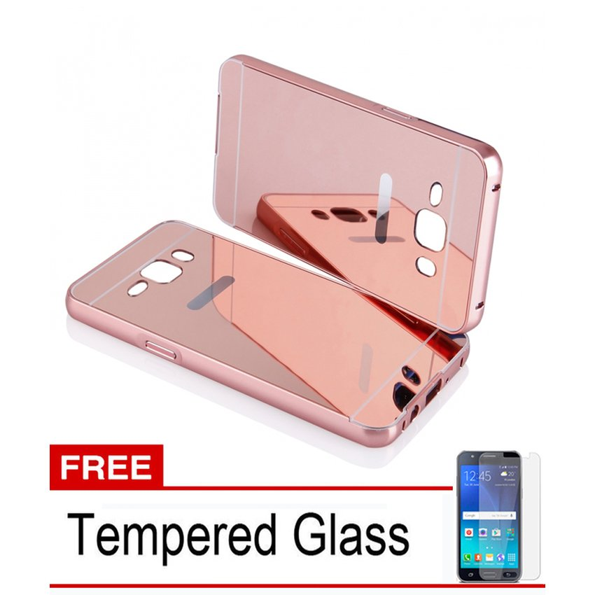 ... Casing Bumper Metal Aluminum Case for Samsung Galaxy J5 2015 - RoseGold + Free Tempered Glass ...