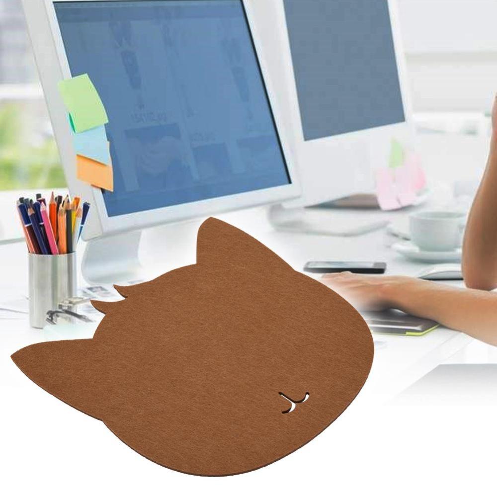 Cat bentuk anti-Static Felts tabel Mouse Pad kantor Tahan Debu meja Pads ( merah