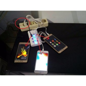 Charger Fast Charger USB Female 6 In 1 Output 4 Slot 2A Dan 2 Slot1A Cas Pengecas HP Handphone Xiaomi Samsung Iphone Redmi Tab TabletIpad Dll Cocok Untuk Dibawa Travel Traveling, Menginap Di Hotel, DiKamar, Di Rumah, Di Kantor Dll - 5